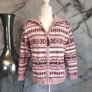 🆕 Tiara Pink Fair Isle Zip Cardigan Sweater Med.